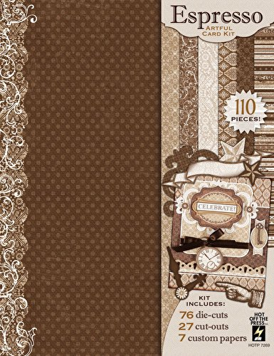 Espresso Artful Card Kit Hot Off the Press 7269 110 Pieces Papers Die-cuts Cut-outs