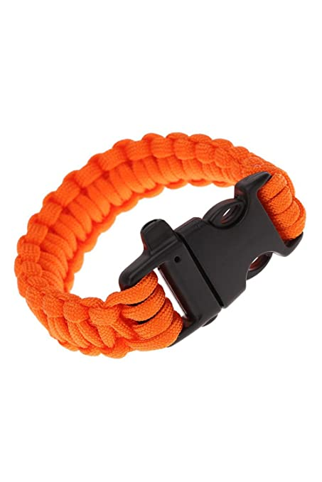 Paracord Parachute Cord Emergency Kit Survival Bracelet Rope with Whistle Buckle Outdoor Camping orange TOOGOO R