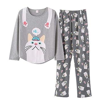 DUKUNKUN Conjunto De Pijama De Manga Larga con Cuello Redondo Y Estampado De Gatos De Pijama