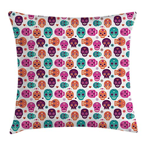 "Ambesonne Day of The Dead Throw Pillow Cushion Cover, Dia de Los Muertos Skull Floral Style Design Print, Decorative Square Accent Pillow Case, 20"" X 20"", Orange Seafoam"