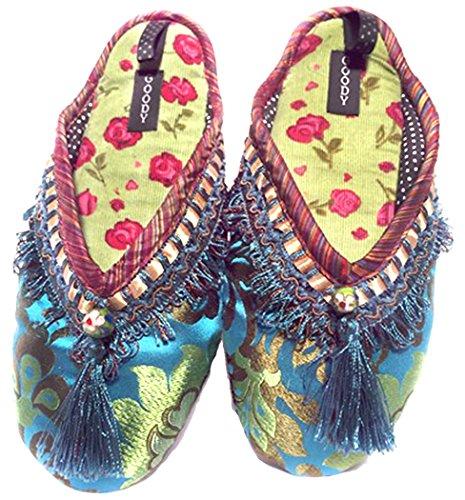 New Goody Goody Bon Bon Comode Pantofole In Seta Cloisonne Da Donna, Grandi: Taglia 9,5 - 11