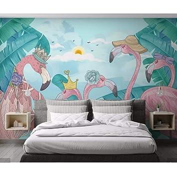 Mural 3D tela flamingo hojas tropicales decoración papel tapiz HD ...
