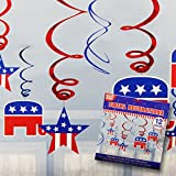 Decorate for your Election night party and Republican Fund Raisers with our bright and bold red, white and blue Republican Foil Hanging Swirls. Our metallic hanging swirls feature the iconic GOP Elephant and assorted stars and stripes that will compl...