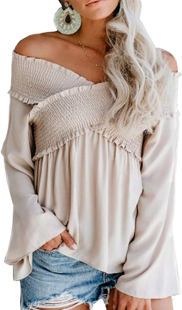 Sofia's Choice Womens Off The Shoulder Tops Casual Loose Long Sleeve Babydoll Blouse Shirts