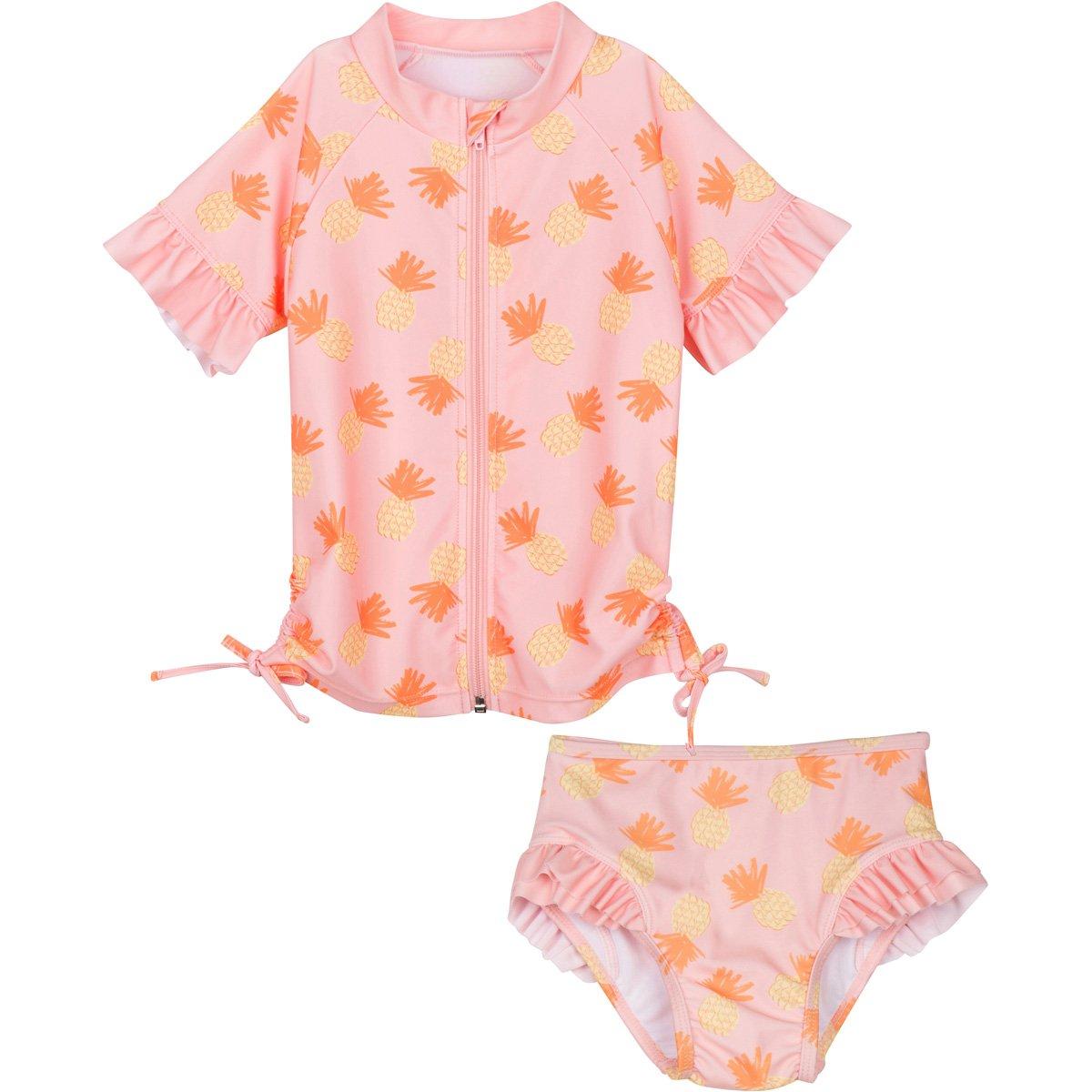 SwimZip Little Girl Zipper Short Sleeve Orange Rash Guard 2 Piece Swimsuit Set Sweet Pineapple SWEETPINEAPPLE2PCSS01