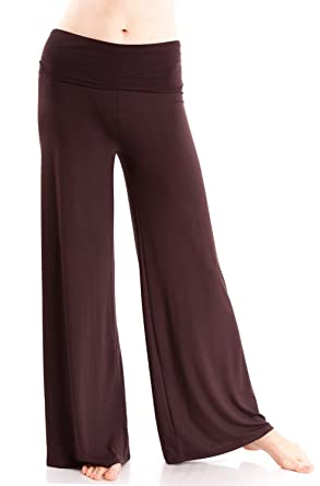 Amazon.com: Ladies Wide Leg Modal Spandex Fold Over Yoga Pants ...