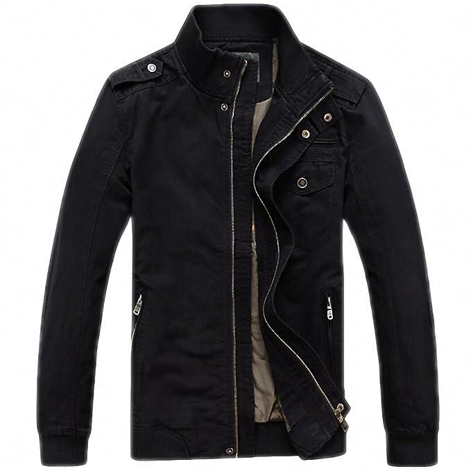 Amazon.com: Men Autumn Jacket Men Casual Loose Stand Collar Army Military Jackets Plus Size M-3XL Windbreaker chaqueta hombre: Clothing