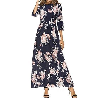 088be8920f97 LONUPAZZ Floral Robe Demi Manche Longue Ete Femme Longue Robe de Soirée   Amazon.fr  Vêtements et accessoires