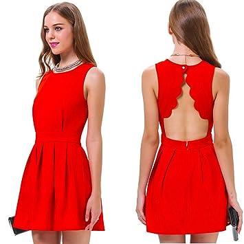4afd095e1d vowsvows Sexy Mujer Espalda Descubierta Mini vestido rojo ärmellose Fiesta  Vestido Elástico para ropa