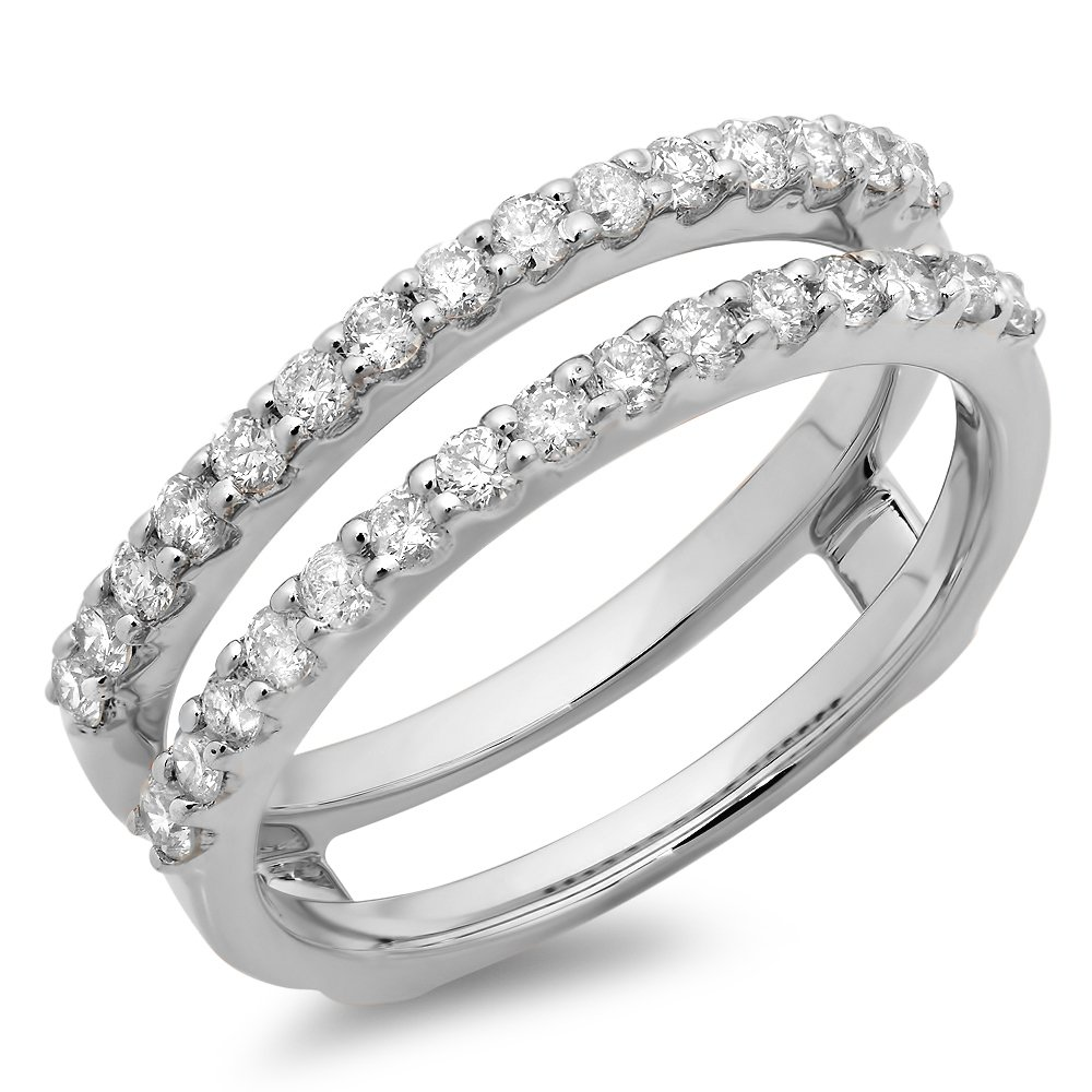 Dazzlingrock Collection 0.50 Carat (ctw) 14K Round Diamond Ladies Anniversary Guard Double Ring 1/2 CT, White Gold, Size 6