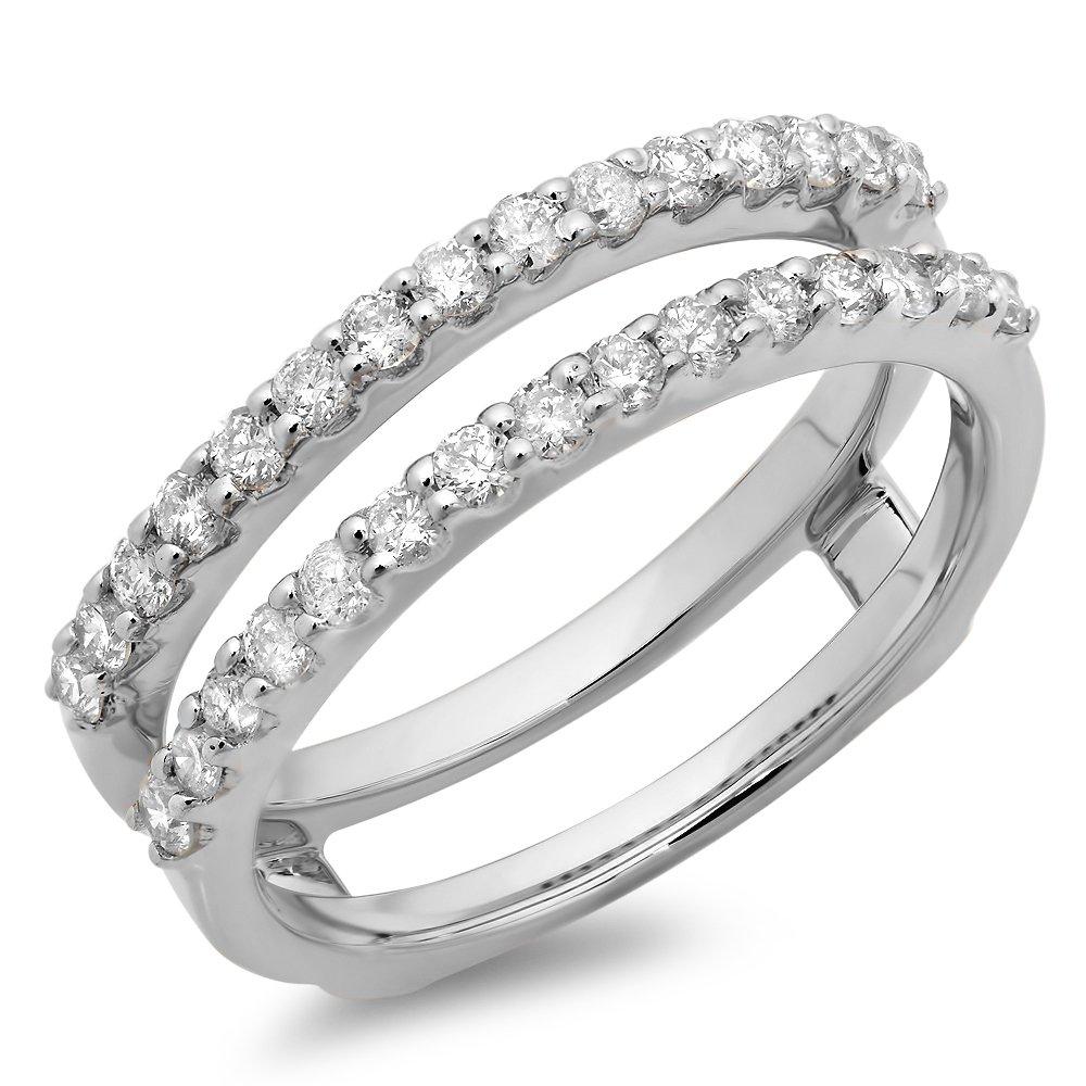 0.50 Carat (ctw) 14K White Gold Round Diamond Ladies Anniversary Guard Double Ring 1/2 CT (Size 7)