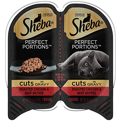 Sheba Perfect Portions Wet Cat Food Roasted Chicken & Beef Entrée In Gravy, (24) 2.6 Ounce Twin-Pack Trays