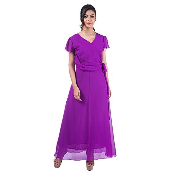 Mamosa Purple Georgette Flared Short Sleeve gown for latest design ...