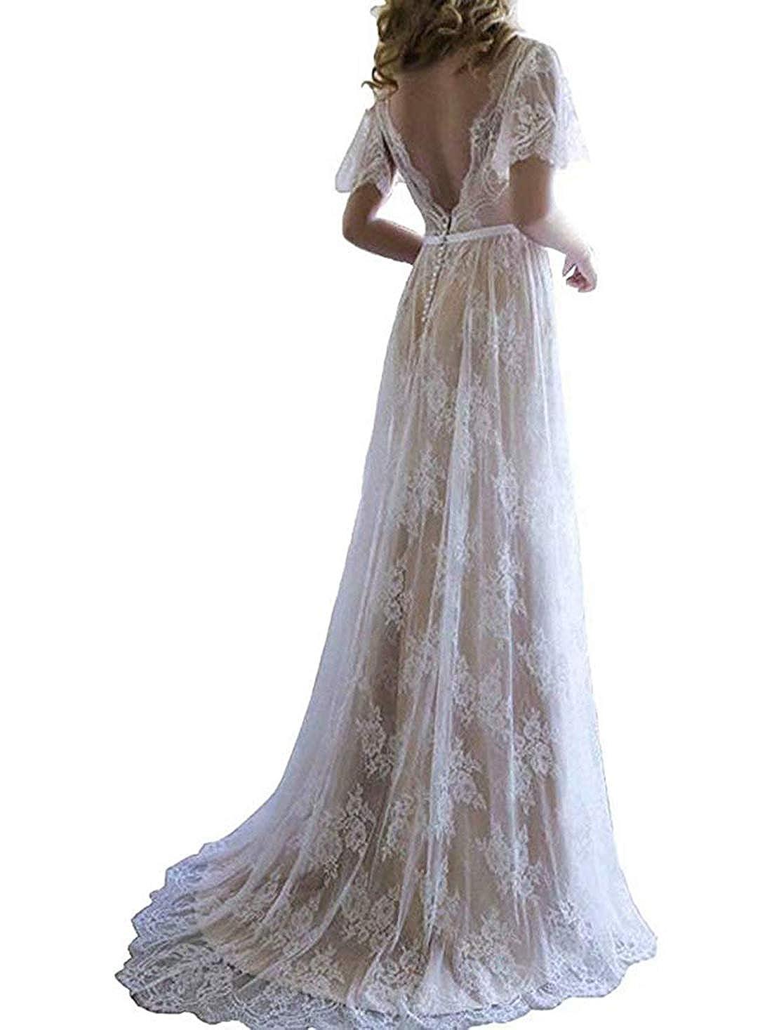 olise bridal Women's Romantic Boho Lace Beach Wedding Dresses V-Neck White Long Bridal Gown 2019 olise379