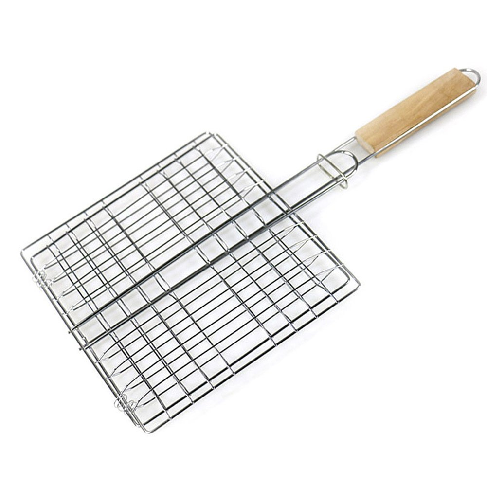 Nochim Barbecue Grilling Basket Portable Non-Stick Roasting Tools for Outdoor/Kitchen Double Layers Folding Flipping BBQ Cookware Fish, Vegetable, Steak,Shrimp Cooking Tools
