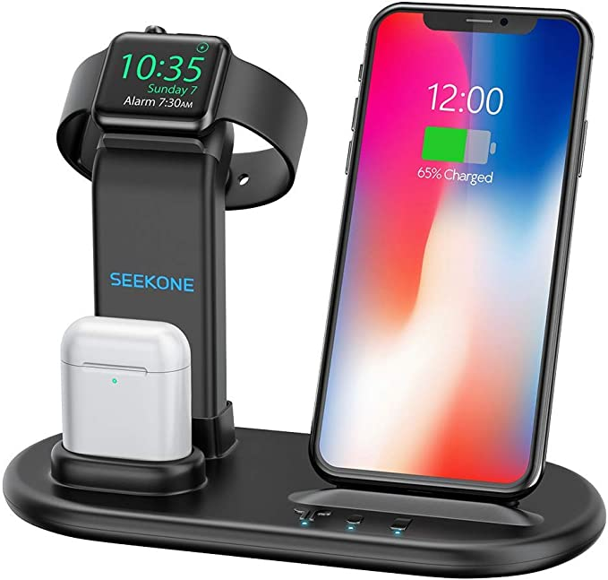 SEEKONE Wireless Charger 3 in 1 Wireless Charging Stand Dock Station for AirPods 2/1 and iWatches 4/3/2/1, Qi Fast Wireless Charger Compatible with ...