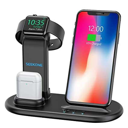 SEEKONE Wireless Charger 3 in 1 Wireless Charging Stand Dock Station for AirPods 2/1 and Watches 5/4/3/2/1, Qi Fast Wireless Charger Compatible with ...