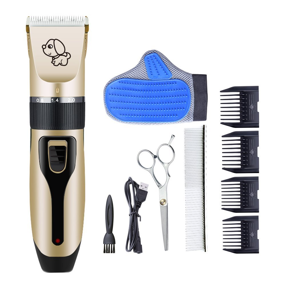 RIRGI Dog Clippers Cat Shaver, Clippers Detachable Blades Cordless USB Rechargeable, Grooming Kit with Scissors, Combs, pet Grooming Glove