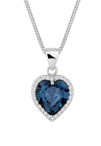 81fef8aaae03 Elli Damen Halskette mit edlem Herz Anhänger und Swarovski Kristallen in 925  Sterling Silber 45 cm lang  Amazon.de  Schmuck