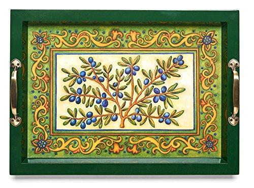 (Medium Wooden Serving Tray w/Brass Handles, 17.75