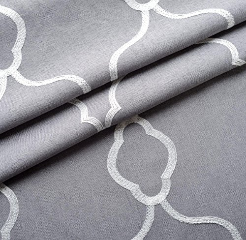 MIUCO Moroccan Embroidered Semi Sheer Curtains Faux Linen Grommet Curtain Panels for Bedroom 52 x 95 Inch 2 Panels, Grey