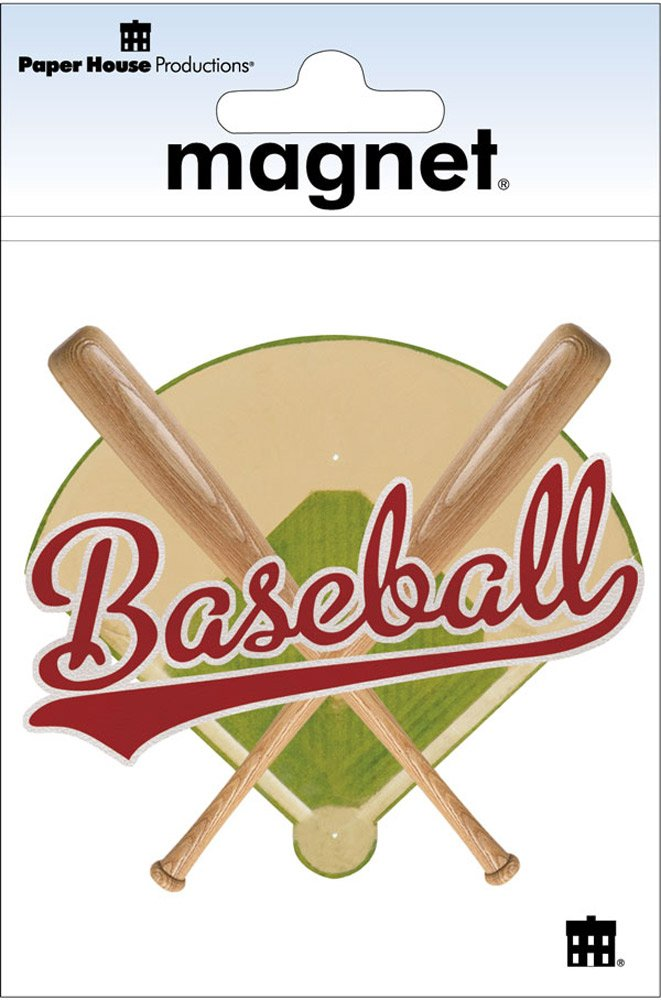 Paper House Productions M-0499E Die Cut Refrigerator Magnet Baseball Title 6-Pack