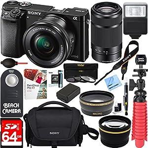 Sony Alpha a6000 24.3MP Wi-Fi Mirrorless Digital Camera + 16-50mm Lens Kit (Black) + 64GB Accessory Bundle + DSLR Photo Bag + Extra Battery+Wide Angle Lens+2x Telephoto Lens+Flash+Remote+Tripod