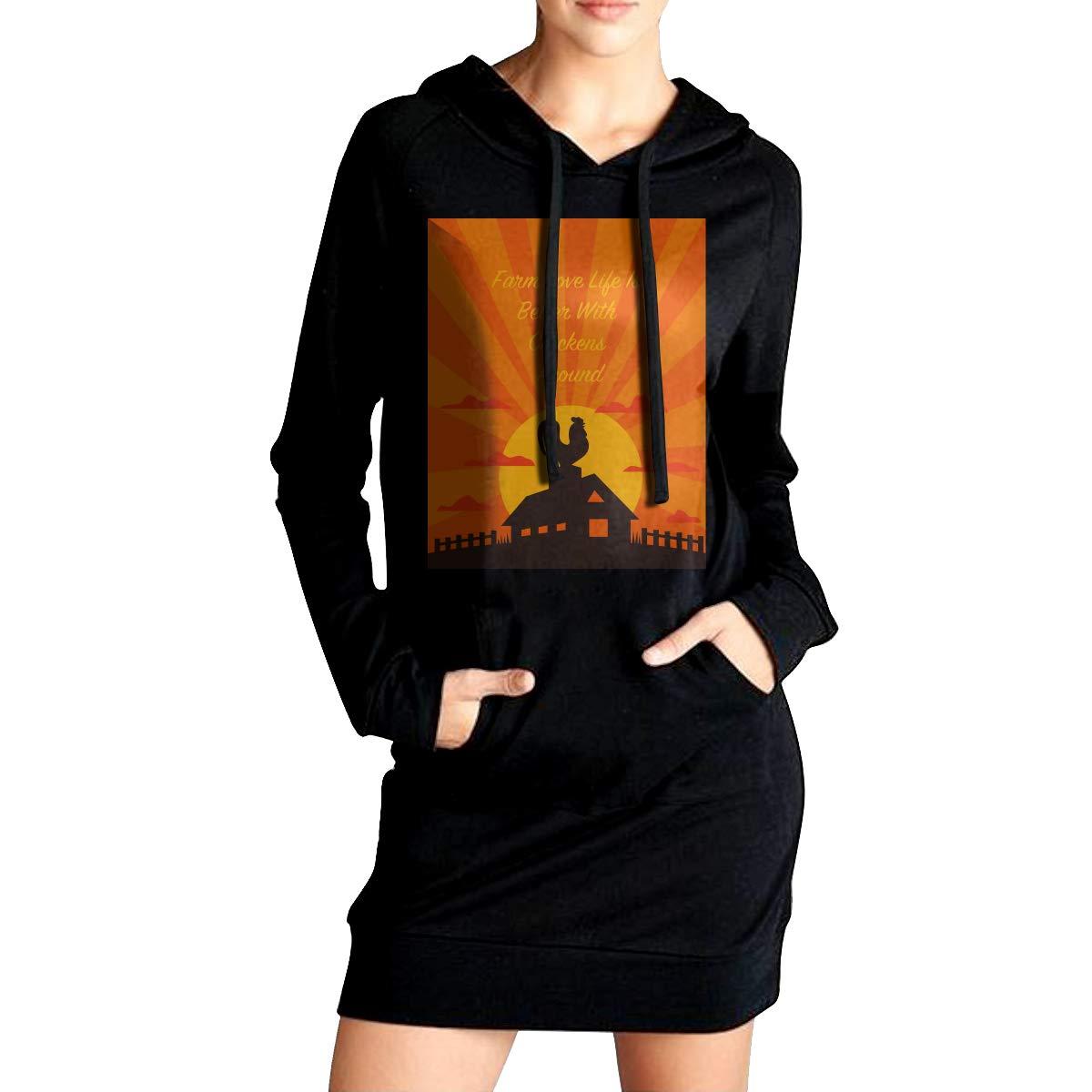 TDYUS DesignName Girls Comfortable Black Hoodie With Pocket