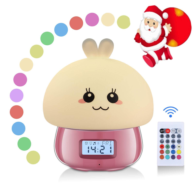Sveglia Digitale da Comodino, Sveglia per Bambini Imparare con Luce Notturna, Neonati Regali, Sveglia per Ragazze Rosa, Lampada Touch, 7 Colori, 11 Suoni, Mostra Temperatura Data e Ora SOLMORE
