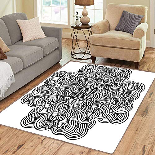 Rug,FloorMatRug,Celtic,AreaRug,Mediaeval Celtic Rotary Heraldic Design with Squared Shape in The Centre Retro Artwork,Home mat,4'x6'Blue Pink Green and Yellow,RubberNonSlip,Indoor/FrontDoor/Kitc