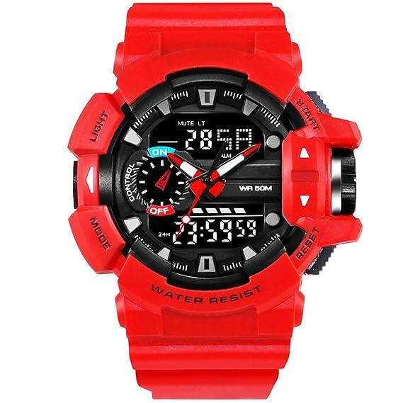 Reloj hombres Reloj Deportivo De Moda Para Hombre Reloj Digital Multifunción Impermeable De Doble Pantalla Con Pantalla LED (Color : Red): Amazon.es: ...