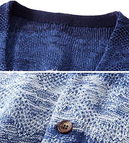 Couleur Hommes En Cardigans Blau V Gradient Col Manteau Fit Cardigan Pull Décontractés Maille Pulls Slim XxSxnRq