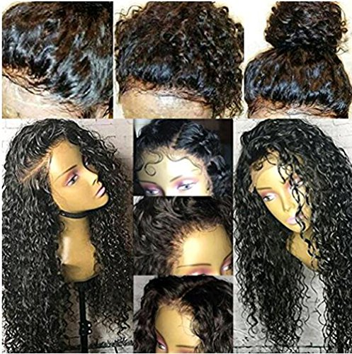 KRN Deep Curly Human Hair Lace Front Wigs for Black Women Full Lace Wigs with Baby Hair Natural Color Per-pulcked (20 Inch, 130% Lace Front Wigs) by KRN