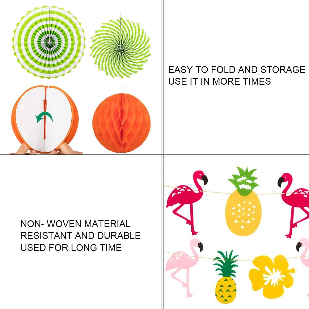 NACTECH Tropical Party Decoration Set Hanging Paper Fans Flamingo Pineapple Banner Flower Garland Banner for Hawaiian Jungle Summer Darden Party Decorations Photo Backdrop Supplies 15Pcs
