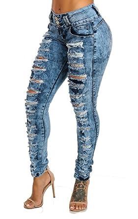 iRachel Damen High Waisted Jeans Hose Skinny Röhrenjeans Bleistifthose Hose  Denim Dünn Rise Ripped Loch Bleistift 3ef06f177d