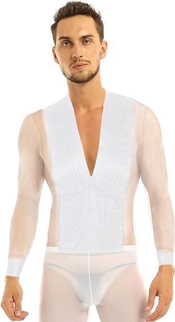 CHICTRY Maillot de Danza Hombre Ballet Rumba Tanga Latino Camiseta Leotardo de Patinaje Manga Largo Cuello en V Satén Traje de Competencia: Amazon.es: Ropa y accesorios