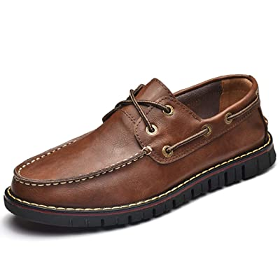 Mens Casual Loafer Genuine Leather Lace-up Boat Shoe Non-Slip Comfort Driving Moccasin Breathable Fashion Dress Shoe Maroon   Loafers & Slip-Ons