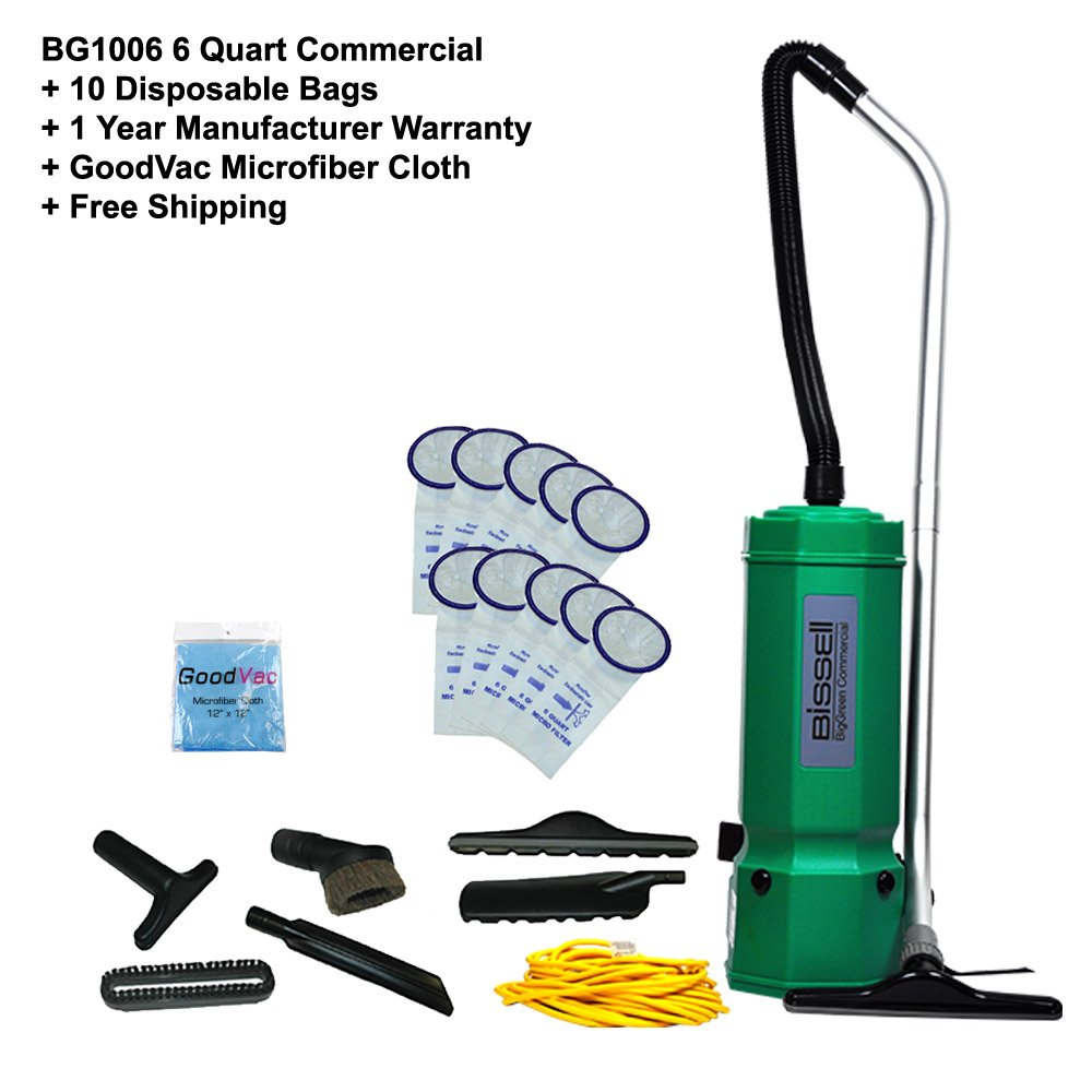 Bissell Commercial BG1006 6 Quart Backpack Vacuum High Filtration w/ 10 Pack Bag 1 Year Warranty and GoodVac Cloth