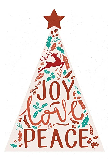 amazon com joy love peace christmas tree 9x12 art print wall