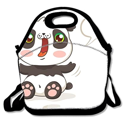 Image Unavailable. Image not available for. Color  Washable Lunch Box Cute  Panda In Kawaii Style Lunch Tote ... 8e5275a0609cc