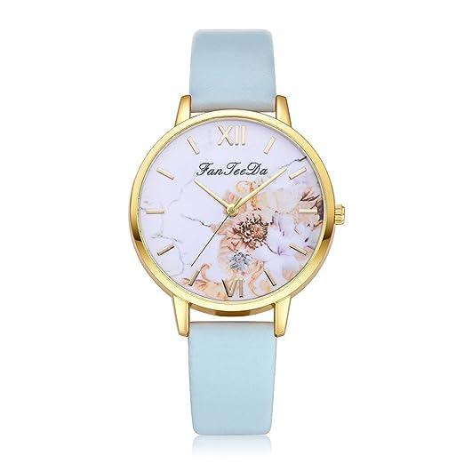 Banda Cuero de Moda Correa de Lujo Strap Cuarzo analógico Pulsera Reloj de Pulsera Redondo de FanTeeDa Correa de Brazalete Reloj FD118: Amazon.es: Relojes