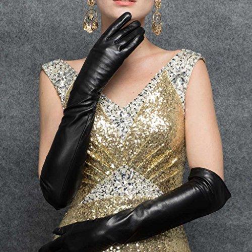CASF Super Long Opera Ladies Lambskin Genuine Leather Gloves For Women Black L