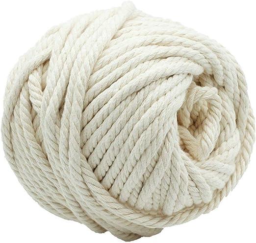 AILINDA Cuerda de algodón de macramé trenzado de 6 mm, 4 hebras ...