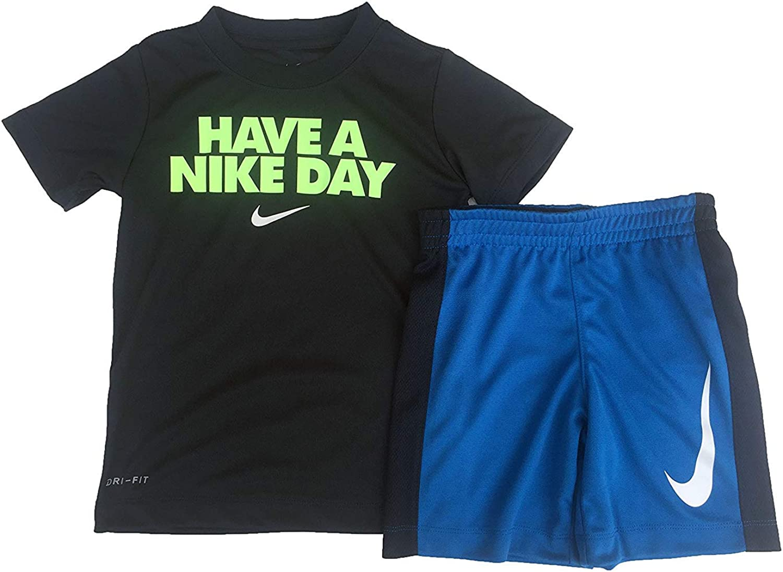//White, 2T Binary Blue Nike Toddler Boys Dri Fit Short Sleeve T-Shirt and Short 2 Piece Set 66C182-B9K