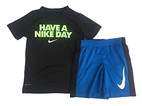 dbd1862c9 Image Unavailable. Image not available for. Color: NIKE Toddler Boys' Dri  Fit Short Sleeve T-Shirt and Short 2 Piece Set