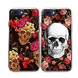 iPhone 8 Plus Case-TTOTT 2x Floral Skull Red Rose Flower Skull Art Anti-Scratch Reinforced Corner Bumper TPU Best Friend Lovers Couple Matching Cover Case for iPhone 8 Plus 5.5inch
