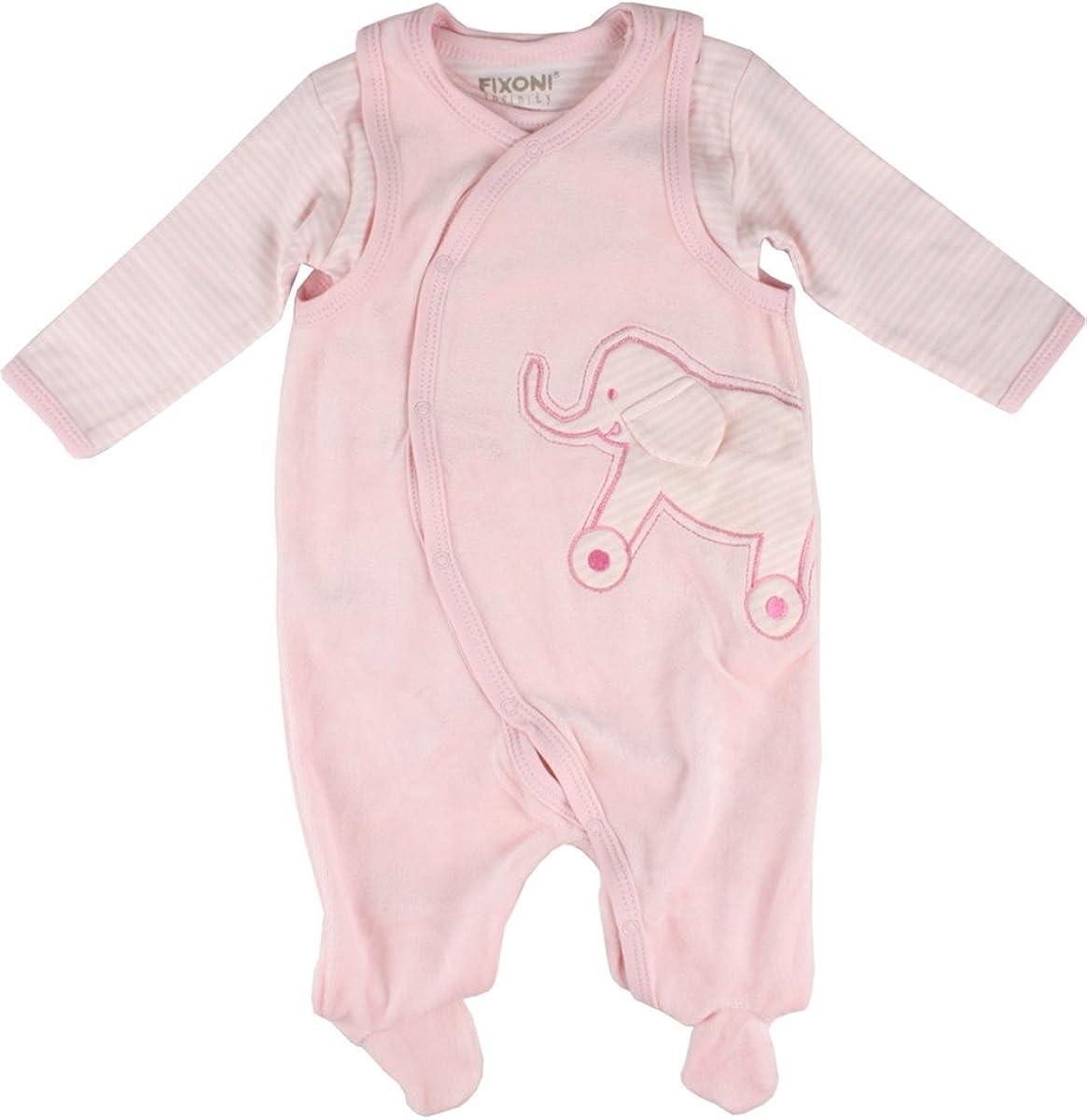 rosa mit Elefant Body Fixoni Baby M/ädchen Strampler