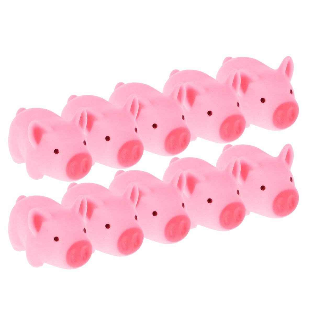 YeahiBaby Soft Rubber Sound Baby Badewasser Spielen niedlich rosa Schwein Spielzeug Baby Shower Dolls (12 Stück, kleine Schweine)