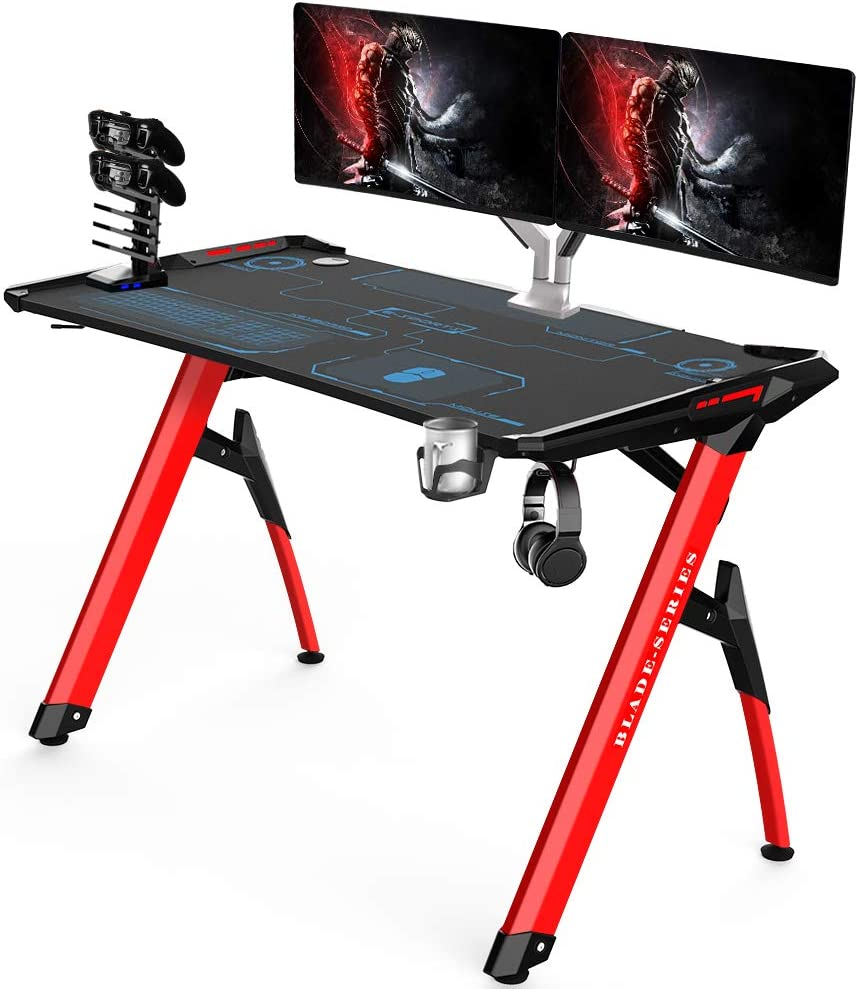 Kinsal Blade Series Gaming Style Computer Desk Office Desk Student Table PC Desk with RGB LED Lights Cup Holder Gamer Workstation Headphone Hook and King Sized Mouse Pad RGB