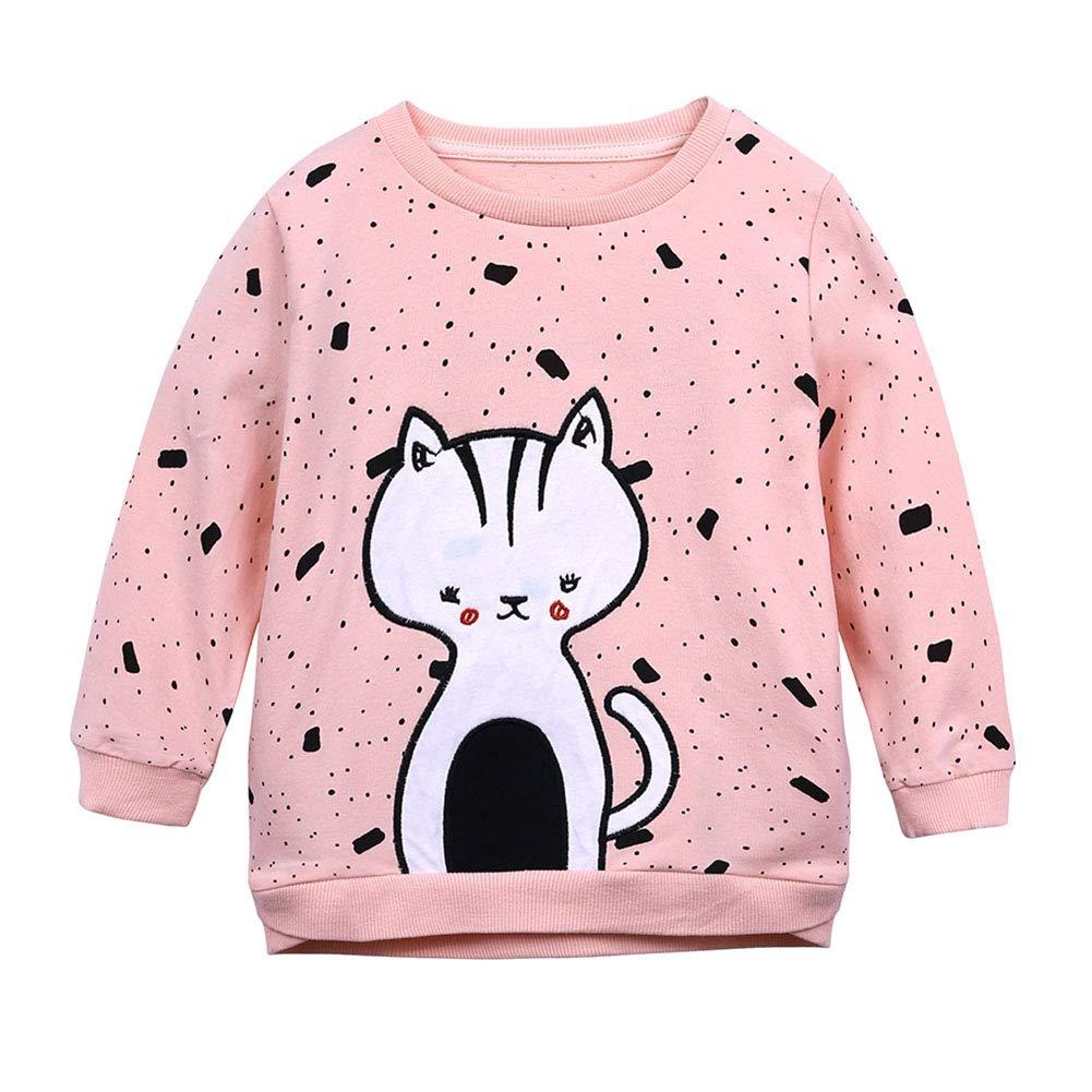 BOBORA Baby Girls Children Cartoon Kitten Prints Cotton Long Sleeved Sweater T-Shirt Tops for Autumn and Winter BO-UK1029